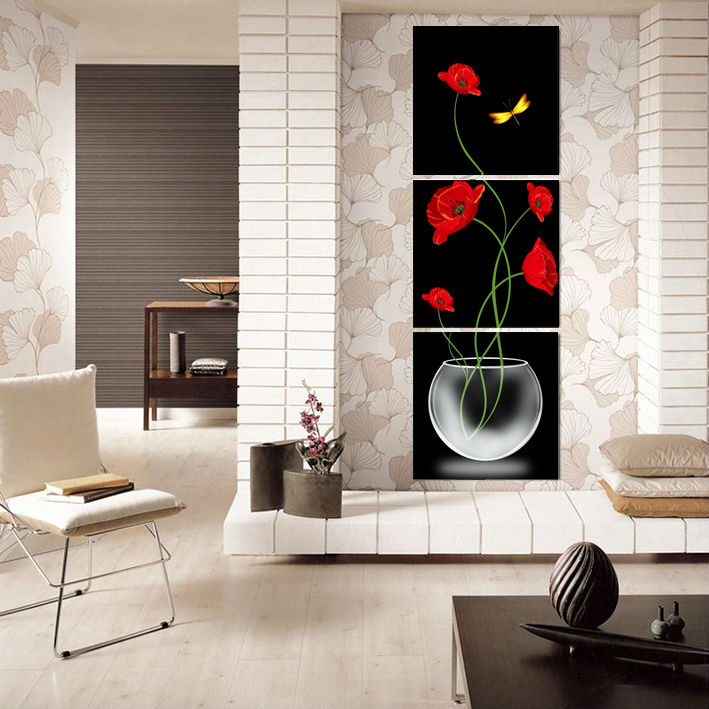 3 Panels Painting Wall Hanging Canvas Picture Paint Modern Living Room  Decorative Red Flower Home Decor Vertical Painting GA1052 In Painting U0026  Calligraphy ...