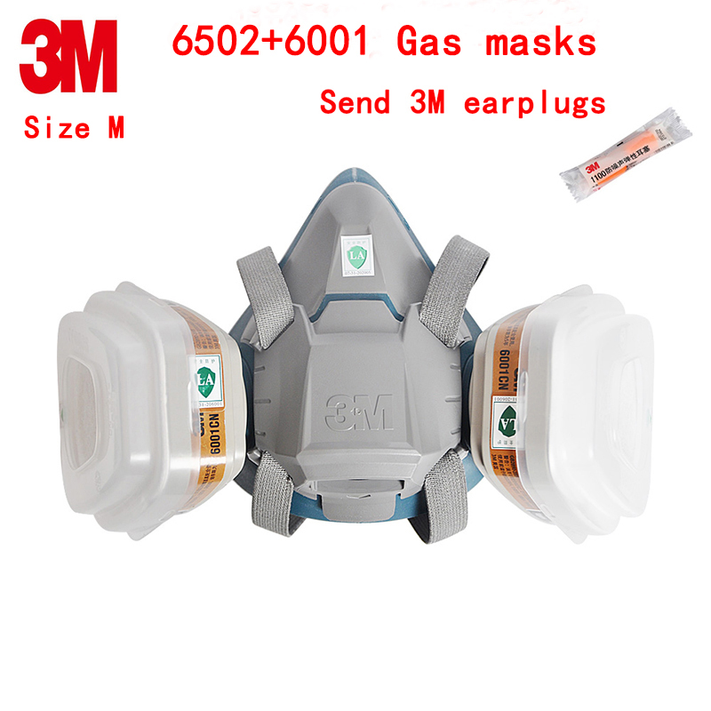 3M 6502+6001CN respirator gas mask Genuine security 3M respirator mask against pesticide Painting Graffiti protective mask чайник bosch twk 6001