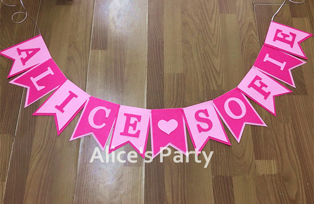 Custom Personalised Baby Shower Banner Girl Name Bunting Pink Theme