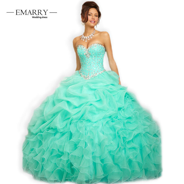 199328984f8 RQ04 Sexy Turquoise Pink Ball Gown Quinceanera Dresses 2018 Sweetheart  Beaded Crystals Sweet 16 Dresses vestidos de 15 anos