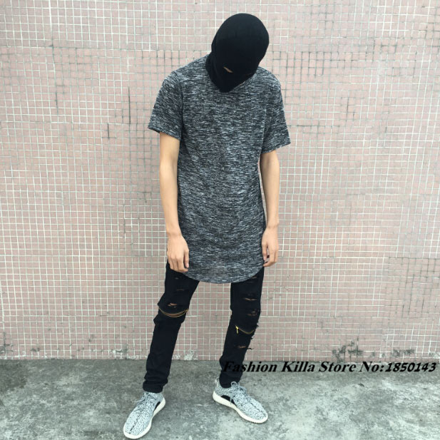 New Fashion HipHop Mens Curve Slate Oversized T Shirt Mix Elongated Summber  Style Extended Tee For 69161bd9ebb