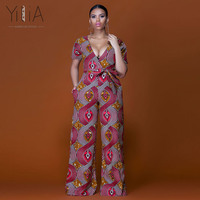Yilia Womens Rompers Jumpsuit Summer 2018 New Women African Print Clothing Short Sleeve Casual Sexy Fashion