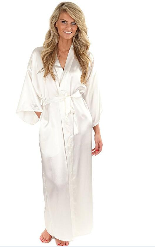 Women Silk Satin Long Wedding Bride Bridesmaid Robe Kimono Robe Feminino Bath Robe Large ...