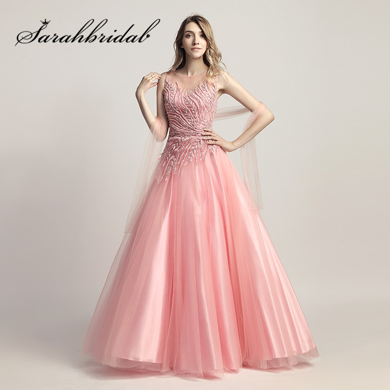 Sexy Sheer Neck   Prom     Dresses   2019 New Illusion Back Pink Tulle A Line Designer Beading Evening Party Gowns CC425