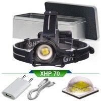 XHP70 lampe frontale puissante rechargeable usb led head lamp head torch lantern 18650 xhp70 headlamp zoom headlight waterproof