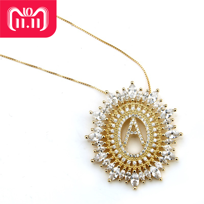 SUNSLL Golden Color Copper White Cubic Zirconia Letter Pendant Necklaces Women's Fashion Jewelry CZ Colar Feminina купить в Москве 2019
