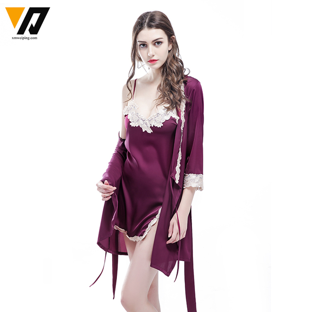 New Arrival Women's Robe Set Free Shipping Bathrobe Gown Nightwear Set Lace Satin Female Sleepwear Home Suits Set High Quality