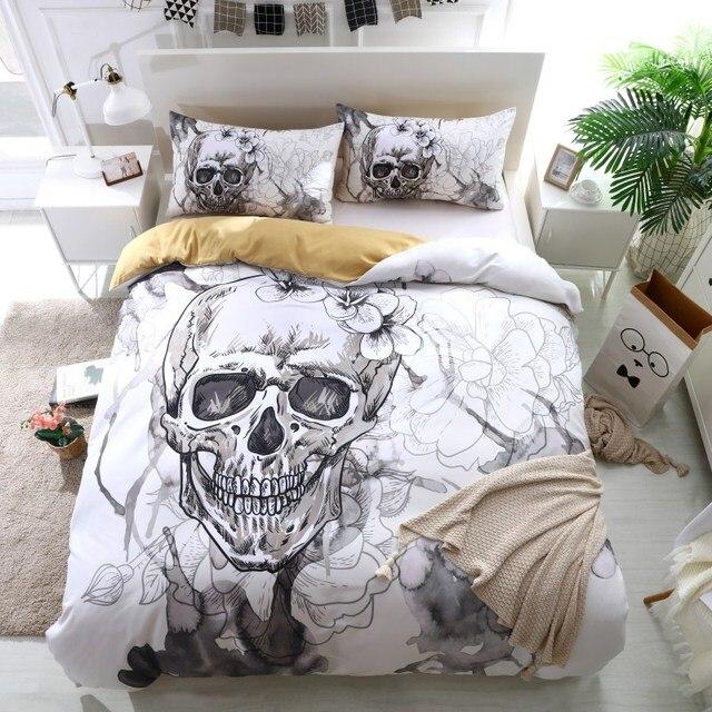 Fanaijia 3d Flowers Skull Duvet Cover, King And Queen Skull Bedding