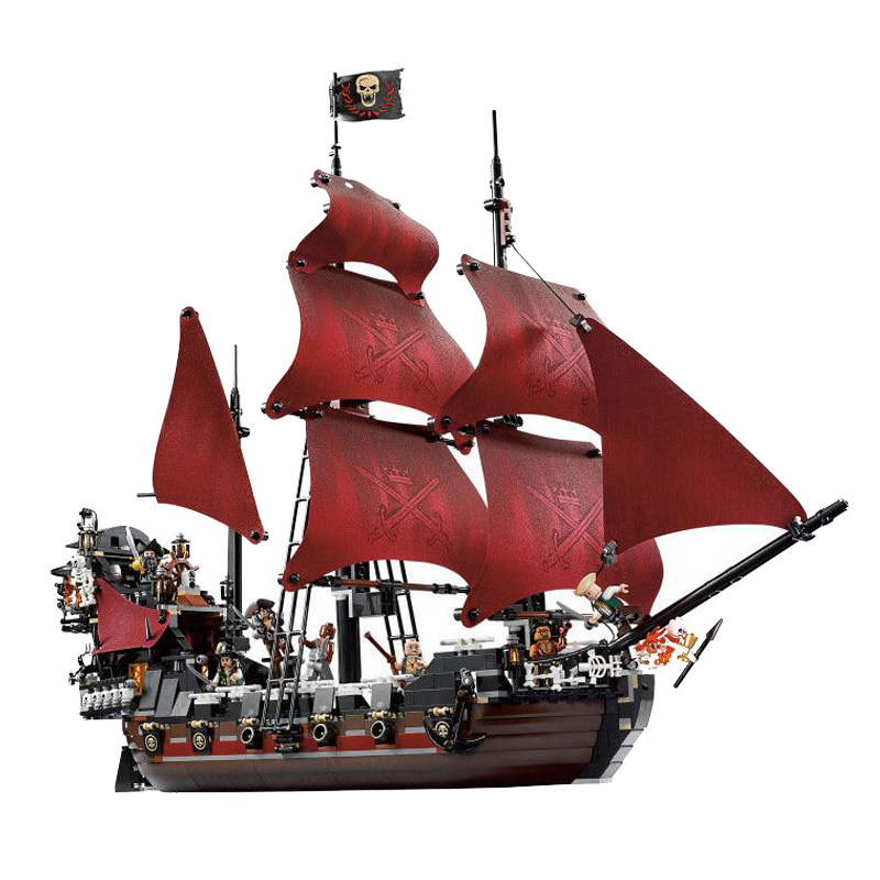 1151pcs Caribbean Queen Anne's revenge Pirates of the Caribbean 16009 Building Blocks Set Bricks Compatible LegoINGLS 4195 1151pcs 16009 compatible movies 4195 ship pirates of the caribbean queen anne s revenge set building blocks toys for kids