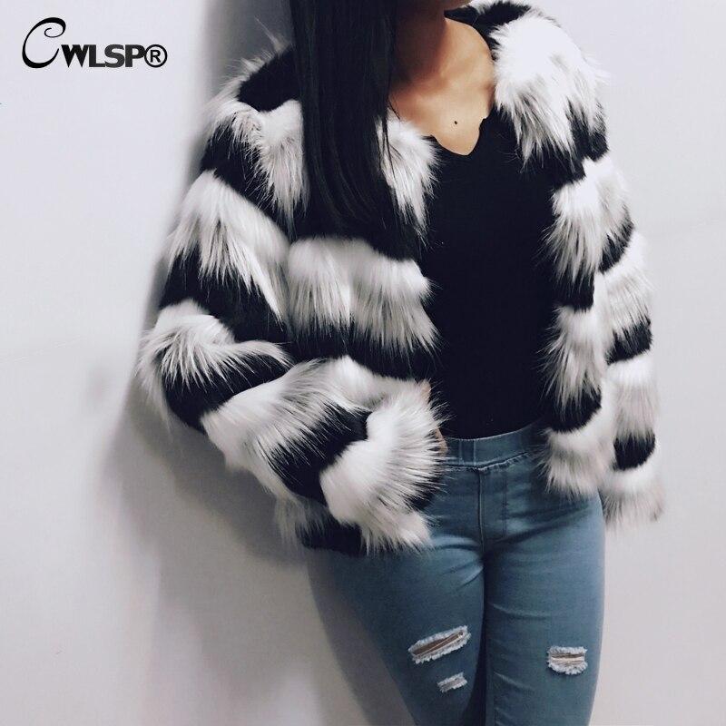 CWLSP grande taille S-3XL hiver chaud rayé fausse fourrure manteau veste de fourrure femmes point ouvert à manches longues abrigo mujer QL3550