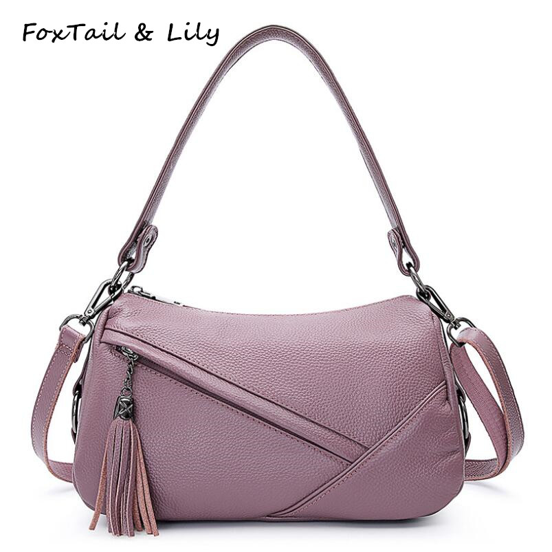 FoxTail & Lily Elegant Tassel Women Genuine Leather Shoulder Messenger Bag Real Soft Cow Leather Handbag Ladies Crossbody Bags foxtail