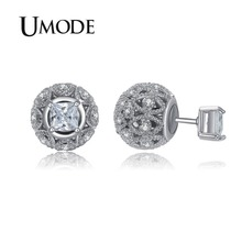 Купить с кэшбэком UMODE Rero Hollow Ball Double Sided Earrings Piercing Earrings for Woman White Gold Plated Earring Jewellery New Brincos UE0244