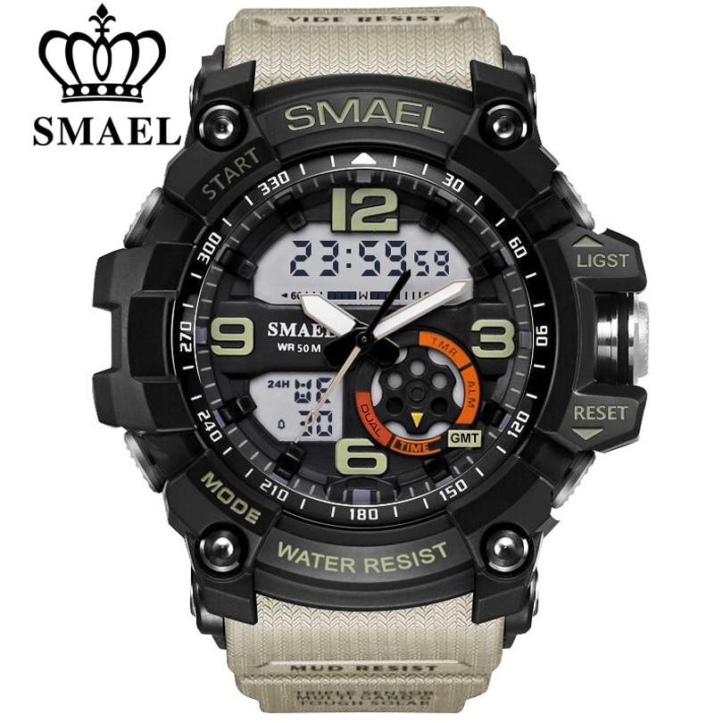 SMAEL Hommes Militaire Montre 50 m Montre-Bracelet Étanche LED Horloge À Quartz Homme relogios masculino 1617 Numérique Sport Montres Ment