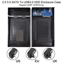 2.5 3.5 HDD Disk Case 3.5 HDD Enclosure Case SATA to USB3.0 External Hard Drive Enclosure Reader Support UASP 10TB Drives