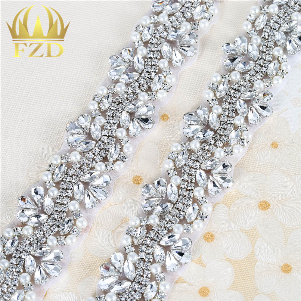 1 Yard Iron On Hotfix Beaded Sewing Wholesale Bridal Wedding Dresses  Rhinestone Crystal Applique Trim-in Rhinestones from Home   Garden on  Aliexpress.com ... 5bb0287b5a29