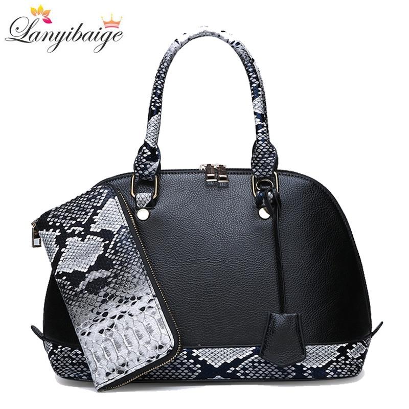 2795a25dd684 US $22.14 41% OFF|New 2 Sets Women Shell Handbags Fashion Women PU Leather  Shoulder Bag 2018 Luxurious Ladies Crossbody Bag With Wallet Clutch Sac-in  ...