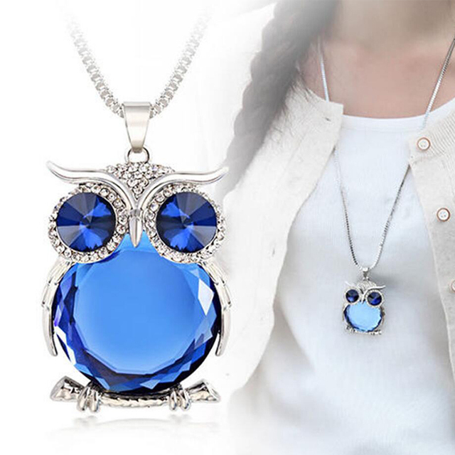 Women Sweater Chain Necklace Owl Design Rhinestones Crystal Pendant Necklace