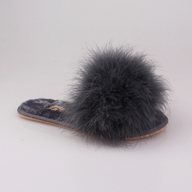 Clearance Sale Summer Autumn Women Home Plush Slippers With Fur Ladies Floor Bedroom Flip Flops zapatos de mujer Flat Shoes 5