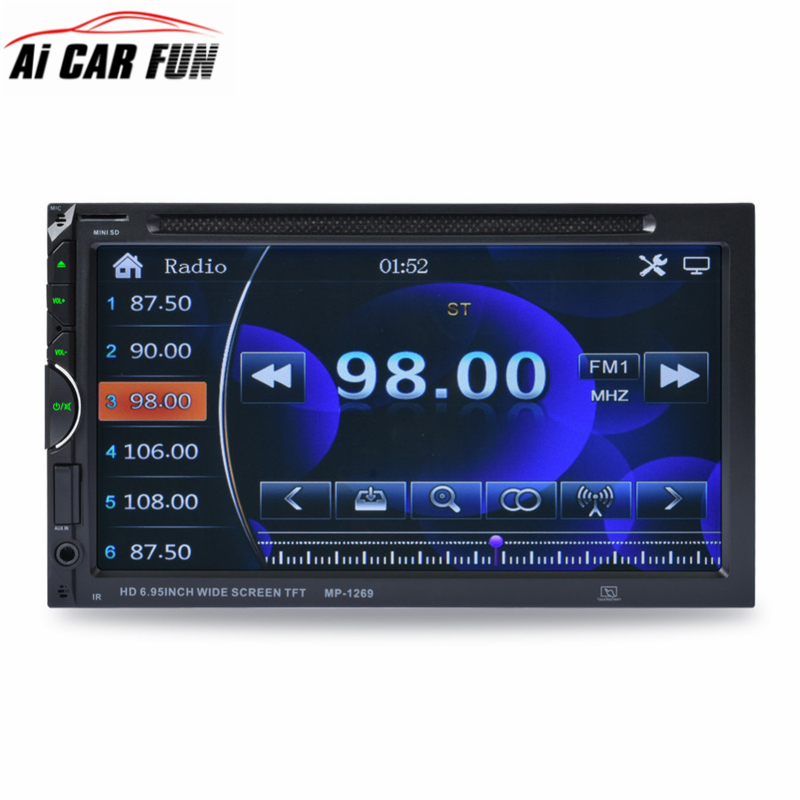 1269 2-Din Car Video Player Support Rear View Camera DVD 7'' HD Touch Screen Bluetooth Stereo Radio Car Audio Auto Electronics 2 din car multimedia video player bluetooth stereo fm radio mp4 mp5 audio steering wheel auto electronics 2din autoradio no dvd