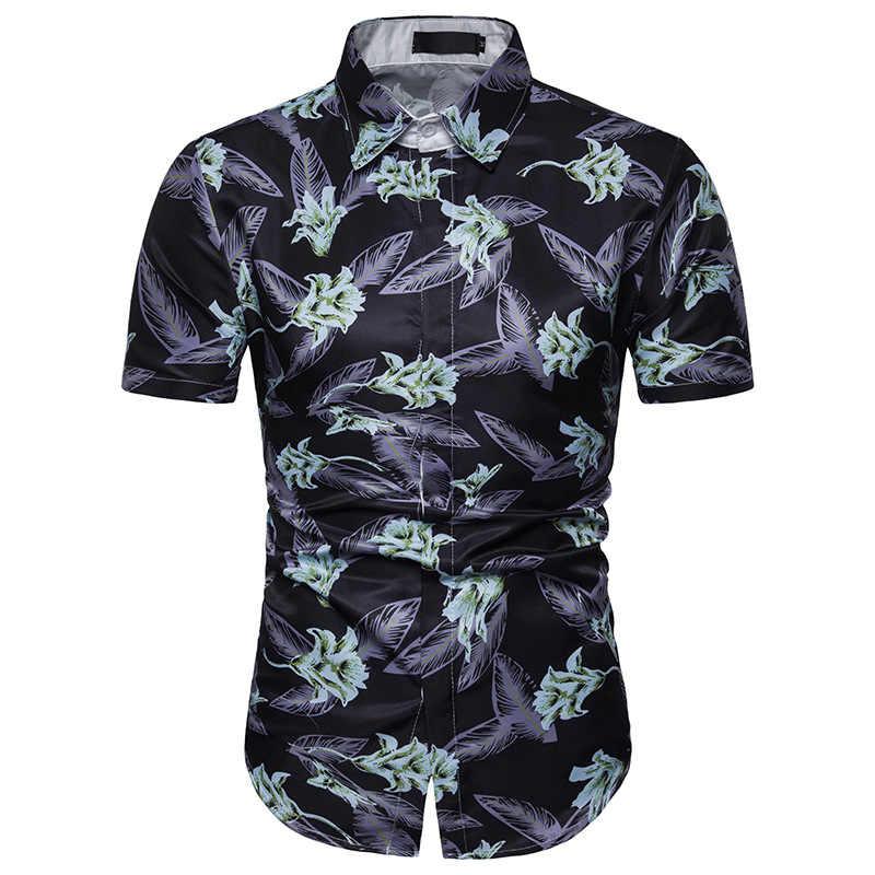 Мужская гавайская рубашка мужской Повседневное Camisa Masculina Цветочный принт пляжные гавайская рубашка мужская рубашка навыпуск с ярким рисунком короткий рукав Для летних вечеринок рубашка