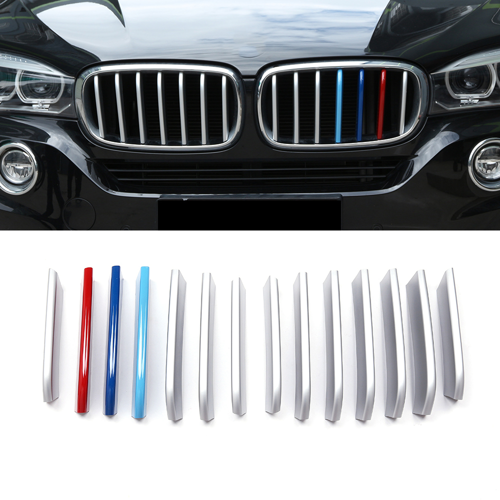 14Pcs/Set ABS plastic Accessories For BMW X5 X6 2014 2015 Car Styling Front Grille Grill cover molding trim high quality car body styling protection detector metal trim racing front up grid grille grill 1pcs for kia sorento 2013 2014