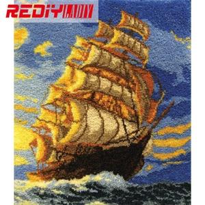 Alfombra con gancho de marca Rediy Ladiy, alfombra sin terminar con bordado de hilo, cojín de ganchillo, tapiz de pared, alfombra para suelo, velero, alfombra, alfombra, 110x95cm