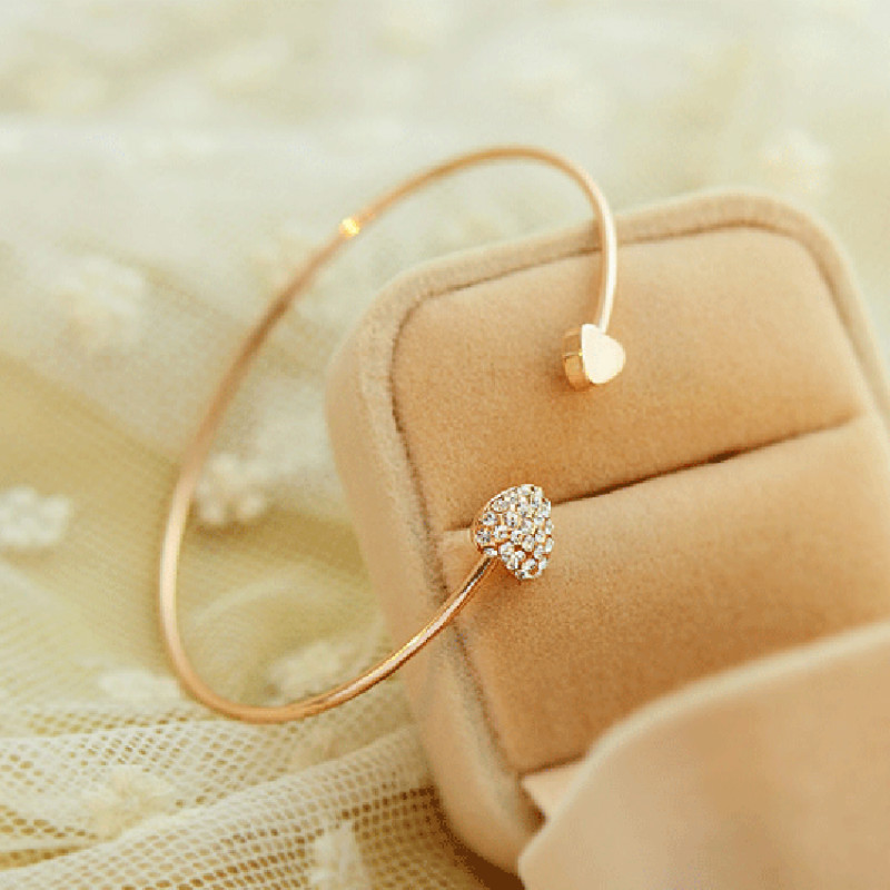 2018 new fashion adjustable crystal double heart cuffs open bracelet ladies jewelry gift bracelet