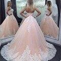 2016 Do Vintage vestido de Baile Vestidos Quinceanera Querida Rosa Lace Apliques Tulle Longo Casamento Sweety Partido Prom Vestidos