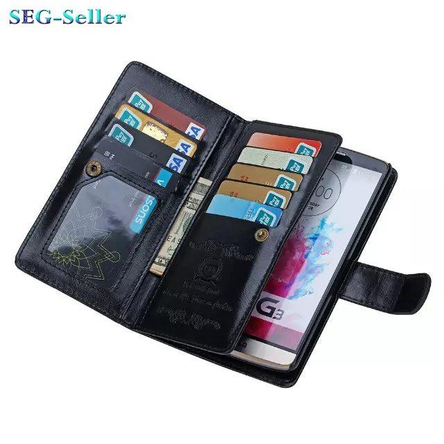 PU, multi - função caso carteira de couro para G3 D850 D855 Magnetic Flip Phone casos e 9 Cardit Photoframe titular do cartão de Slot SJ1355