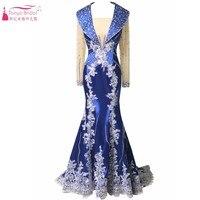 Langen Ärmeln Gefrieste Saudi Arabisch Abendkleider Königsblau Spitze Appliques Mid East Dubai Abendkleid Vintage Formale Kleid