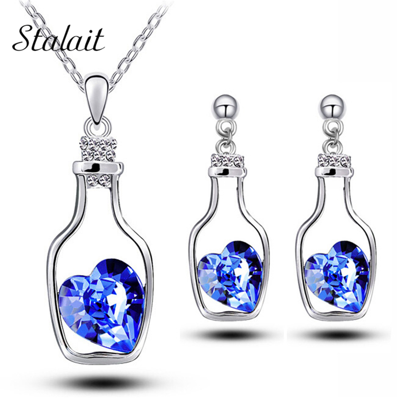 asutrain crystal <font><b>heart</b></font> drift bottle ocean float love Jewelry Sets fashion Necklace <font><b>Earrings</b></font> wedding bridal18KGP pendant 90095 image