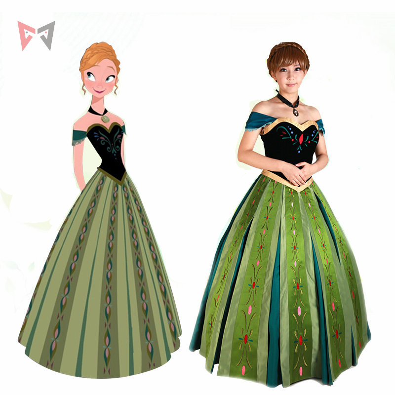 Free shipping Anna cosplay dress Princess Coronation Cosplay costume custom made size suit necklace