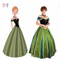 จัดส่งฟรี Anna คอสเพลย์ชุด Princess Coronation คอสเพลย์เครื่องแต่งกายที่กำหนดเองขนาดสร้อยคอ