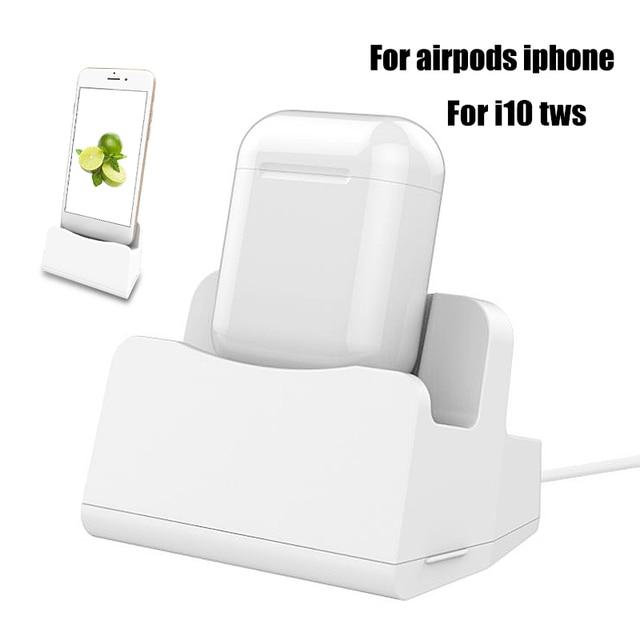 2 в 1 i7 i10 i12 TWS зарядный чехол док станция Настольный держатель подставка зарядное устройство для Apple Airpods i7 i10 TWS iPhone x 8 7 6