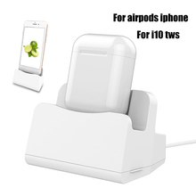 2 in 1 i7 i10 i12 TWS Charging Case Dock Desktop Table Holder Stand Station Charger for Apple Airpods i7 i10 TWS iPhone x 8 7 6