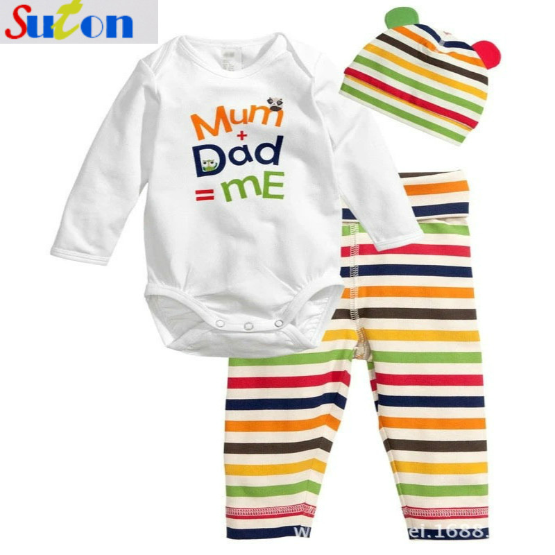 2018 New Mum+Dad=Me Baby rompers+hat+pants 3 pcs I Love Daddy And Mummy Cozy Cartoon Fashion Long-sleeved Cotton Baby Romper 2017 new cartoon pants brand baby cotton embroider pants baby trousers kid wear baby fashion models spring and autumn 0 4 years