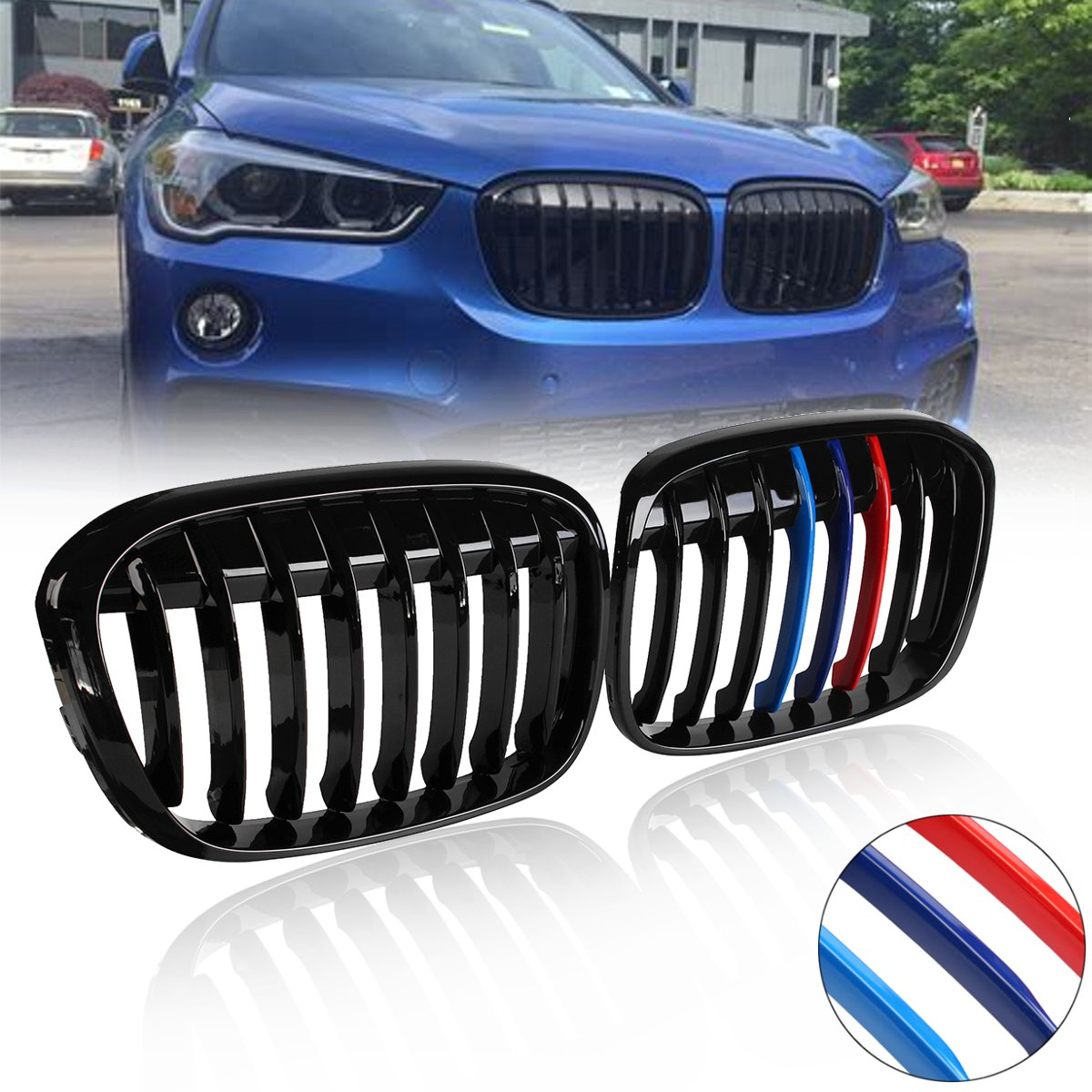 Pair Matte Black M-Color Front Kidney Grill Grille for BMW F48 F49 X1 X-Series 2016 2017