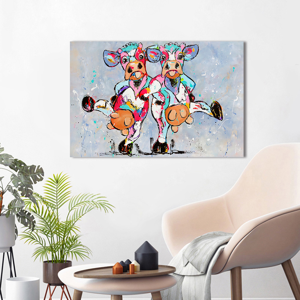 HDARTISAN Vrolijk Schilderij Lona de arte de pared de pintura Animal foto huellas vacas felices a Casa Decor No marco Dropshipping. exclusivo.