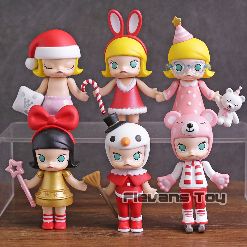 Cute Molly Christmas 2017 Sleeping Baby Red / Blue PVC Action Figures Collectible Model Toys 6pcs/set sonny angel summer series caribbean sea version mini pvc action figures collectible model toys 6pcs set 8cm