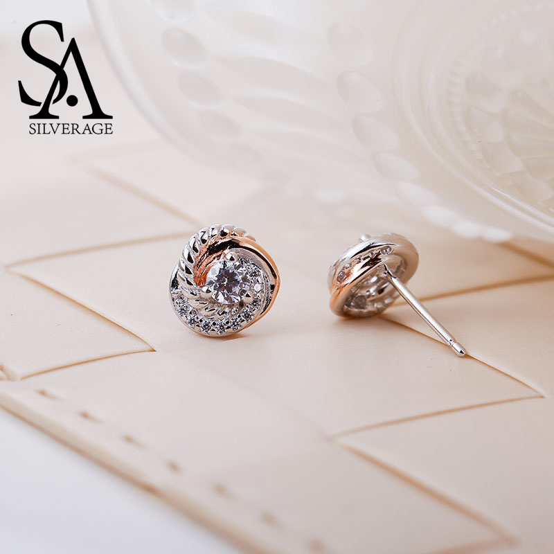SA SILVERAGE Real 925 Sterling Silver Stud øredobber Rose Gold Color Fine smykker Love Circle 925 Silver Stud øredobber for kvinner