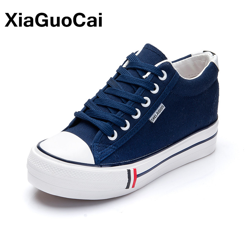 XiaGuoCai Spring Autumn Newest Women Canvas Shoes Breathable Height Increasing Women's Casual Shoes Fashion Vulcanized shoes chilenxas 2017 spring autumn comfortable casual shoes canvas men leather breathable new fashion height increasing lace up solid