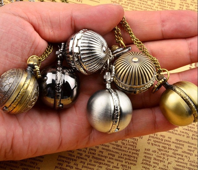 12pcs/lot Vintage Steampunk Style Retro Ball Pocket Watch Necklace low price who