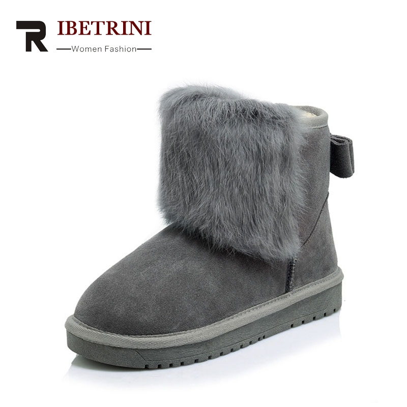 RIBETRINI 2017 Winter Real Leather Platform Ankle Snow Boots With Faux Fur Slip-On Low Wedges Casual Woman Shoes Size 34-39