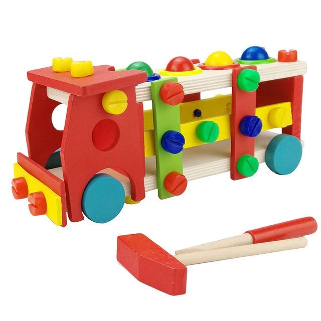 Montessori kayu Meniduri Truk Perakitan Bangunan Konstruksi Driver Meningkatkan Kecerdasan Dismantable Mobil Mainan untuk Anak-anak