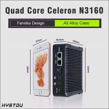 hystou quad core mini pc windows 10 celeron n3160 1.6GHz minicomputer 2*hdmi 4gb ram 300m wifi fanless small computer mini itx