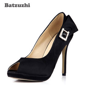 c02e53e2153 Batzuzhi 2018 Black Suede Platform Buckle Women Dress Shoes
