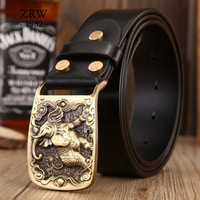 2018 solid brass sculpture elephant sash belt brands high quality sashes men casual genuine leather strap cowboys jeans size 115