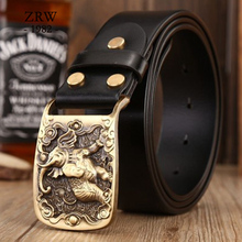 2019 solid brass sculpture elephant sash belt brands high quality sashes men casual genuine leather strap cowboys jeans size 115