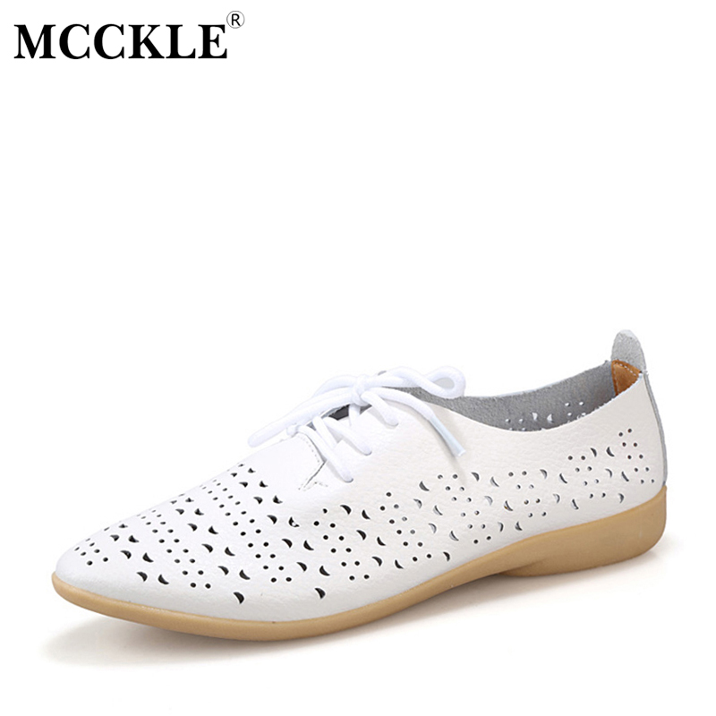 MCCKLE Women Spring Autumn Lace-Up Casual Shoes Female Shallow Point Toe Hollow Solid Flats Woman New Comfortable For Ladies mcckle 2017 fashion woman shoes flat women platform round toe lace up ladies office black casual comfortable spring