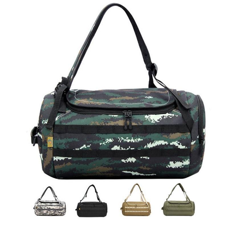 35L Gym Bag Travel Bags Women Men Sports Fitness Yoga Handbags Shoulder Crossbody Cylinder Backpack Camo Camouflage Camping